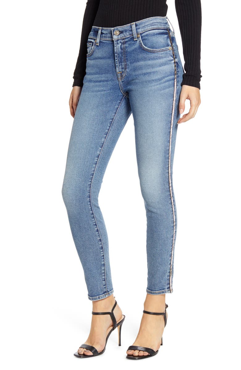 7 FOR ALL MANKIND<SUP>®</SUP> Metallic Chevron Sides Ankle Skinny Jeans, Main, color, LUXE VINTAGE MUSE