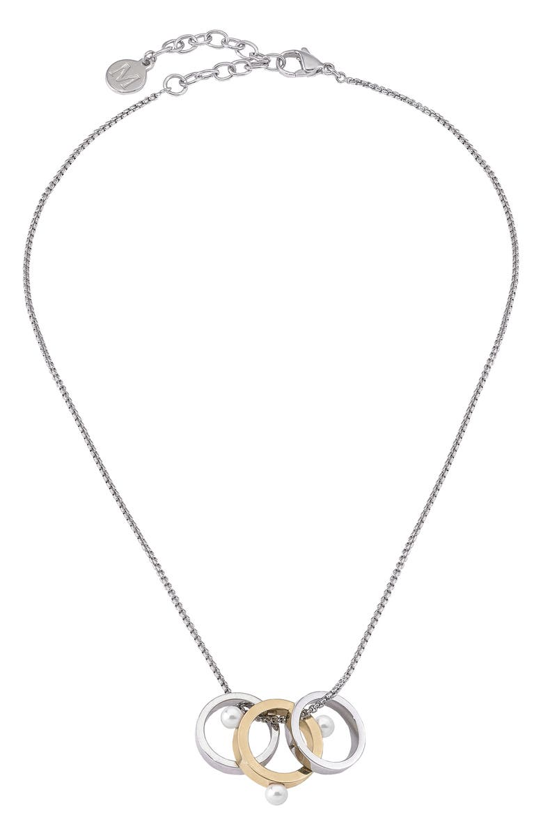MAJORICA Simulated Pearl Pendant Necklace, Main, color, SILVER