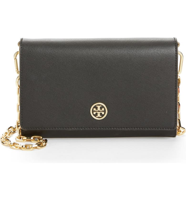 TORY BURCH 'Robinson' Wallet on a Chain, Main, color, 002