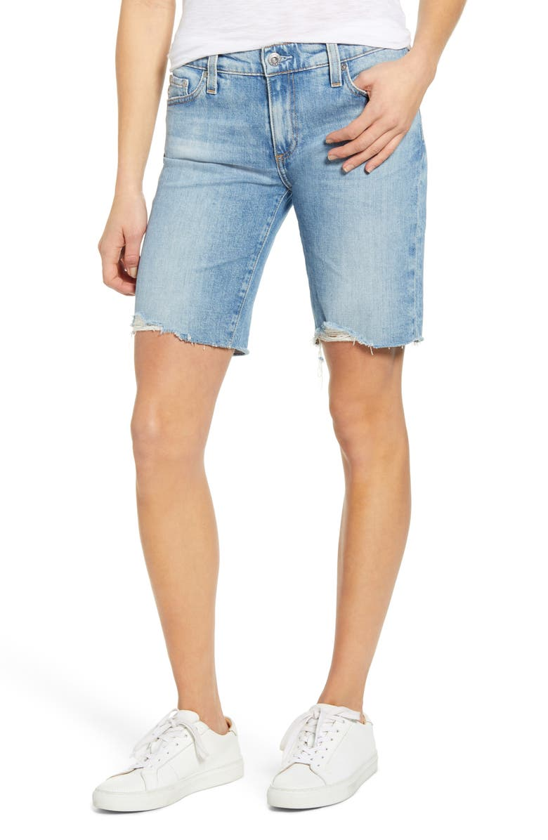 AG Nikki Cutoff Denim Bermuda Shorts, Main, color, 488