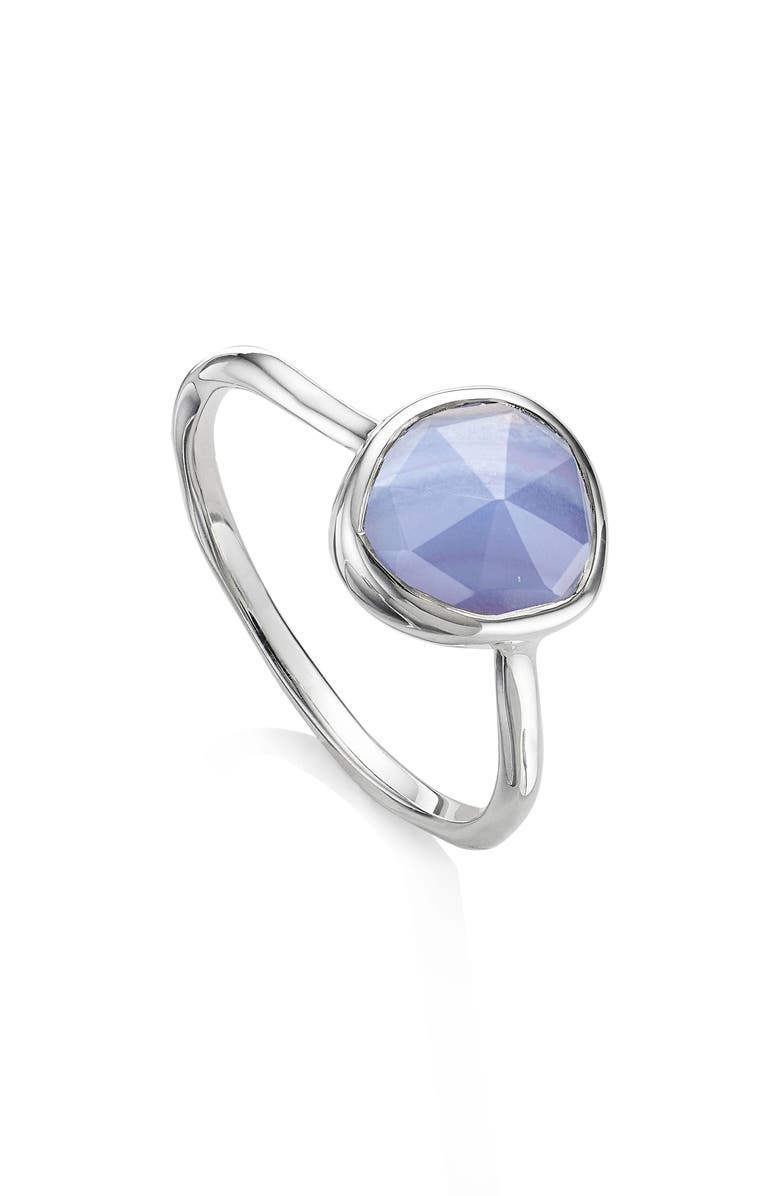 MONICA VINADER Siren Stacking Ring, Main, color, SILVER/ BLUE LACE AGATE