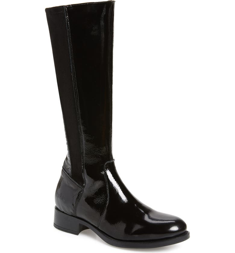 BOS. & CO. Beau Tall Waterproof Boot, Main, color, BLACK PATENT LEATHER
