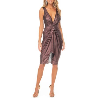 Katie May Sass Twist Plunge Neck Body-Con Dress, Purple