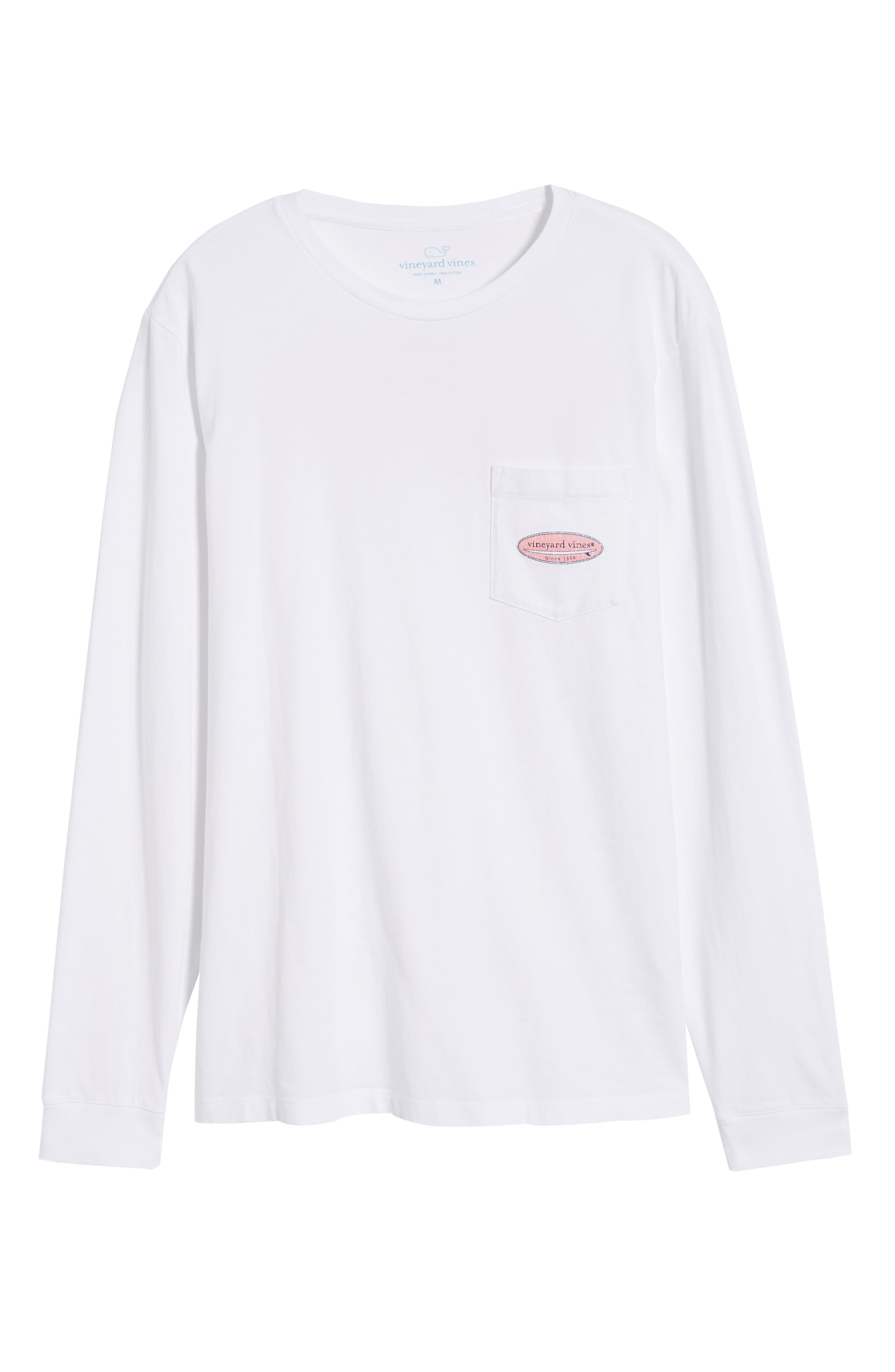 ,                             Surf Logo Long Sleeve Pocket T-Shirt,                             Alternate thumbnail 6, color,                             WHITE CAP