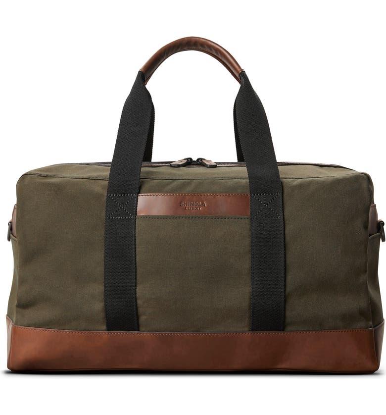SHINOLA Mack Waxed Canvas Duffle Bag, Main, color, MOSS