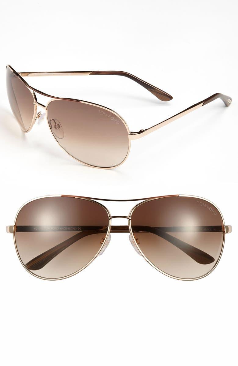 TOM FORD 'Charles' 62mm Aviator Sunglasses, Main, color, PAD