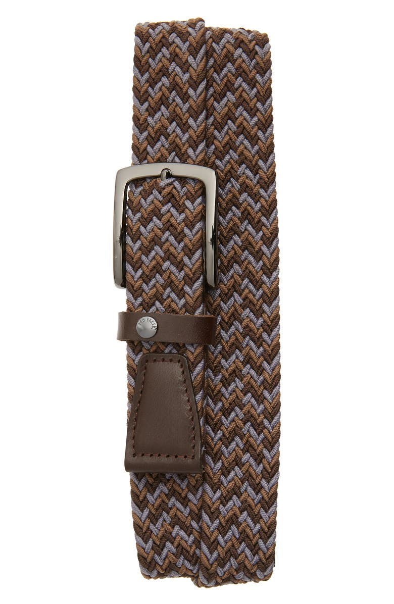 TED BAKER LONDON Teddie Woven Stretch Belt, Main, color, 020