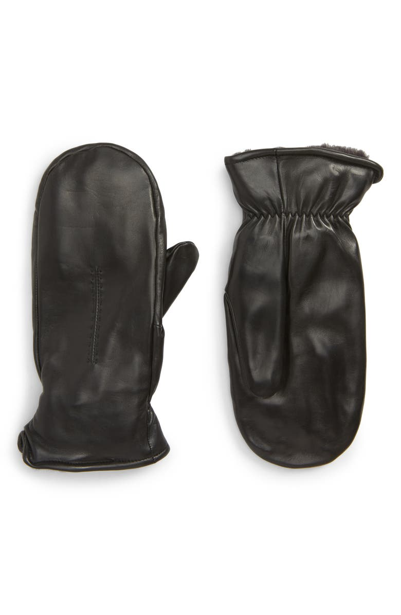 NORDSTROM Faux Fur Lined Leather Mittens, Main, color, 001