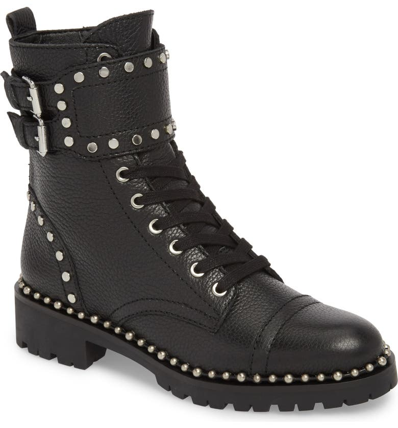 SAM EDELMAN Jennifer Studded Combat Boot, Main, color, BLACK LEATHER