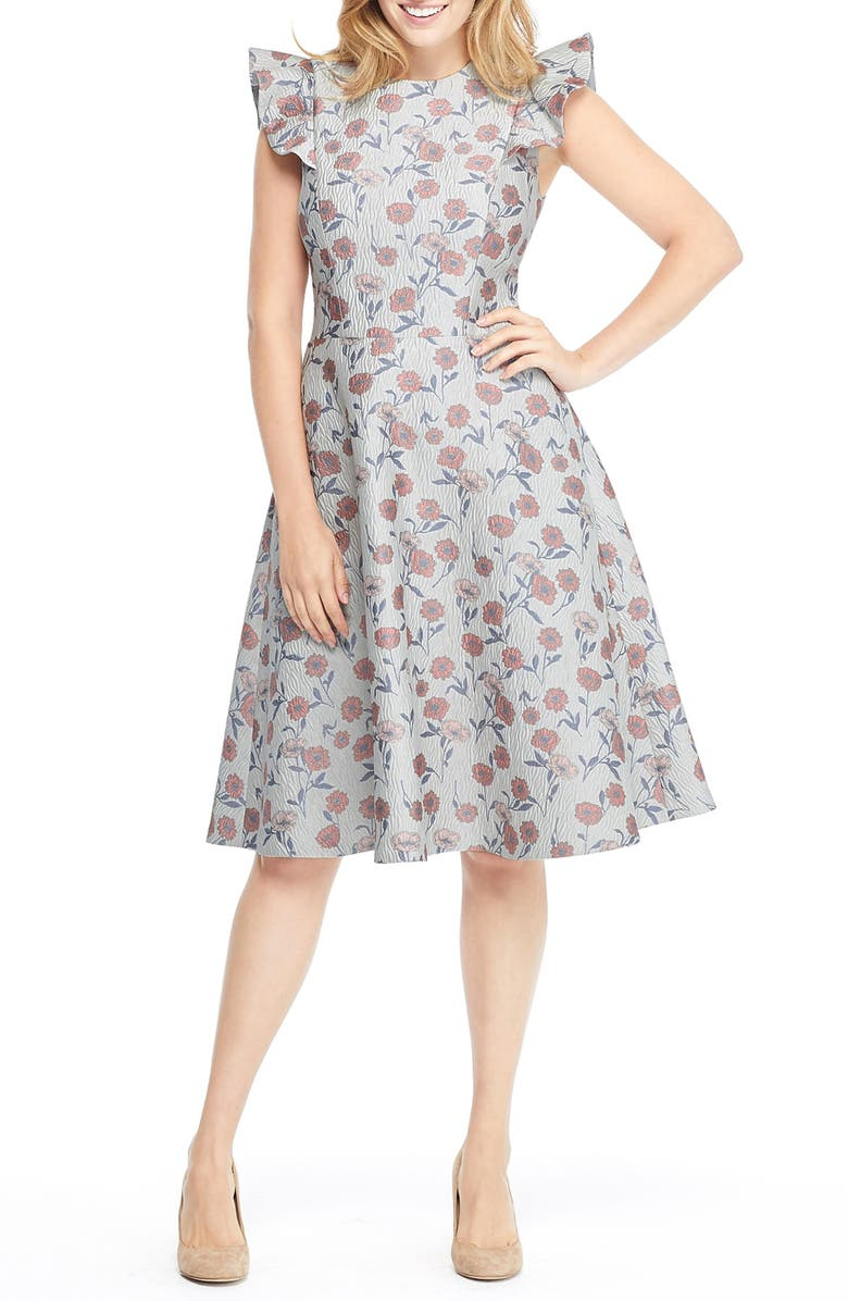 GAL MEETS GLAM COLLECTION Lola Dancing Daisy Jacquard Dress, Main, color, 650