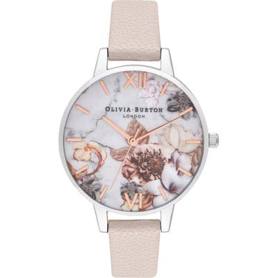 Olivia Burton Marble Floral Leather Strap Watch,