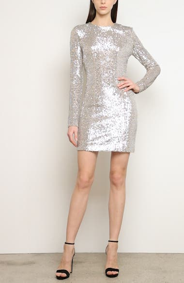 Sequin Long Sleeve Cocktail Minidress, video thumbnail