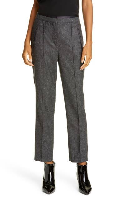 Image of TAILORED BY REBECCA TAYLOR Herringbone Wool Blend Ankle Crop Pants