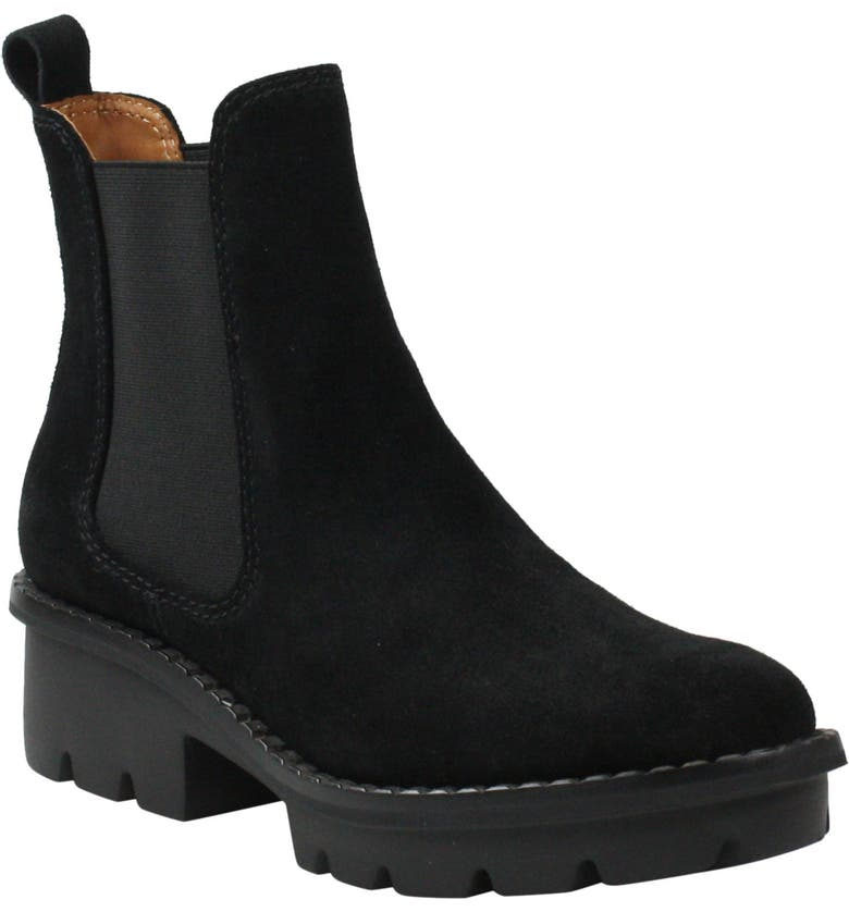 L'AMOUR DES PIEDS Faviola Chelsea Boot, Main, color, BLACK WAXY SUEDE