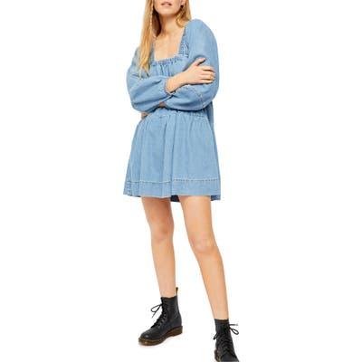 Free People Denim Babydoll Dress, Blue