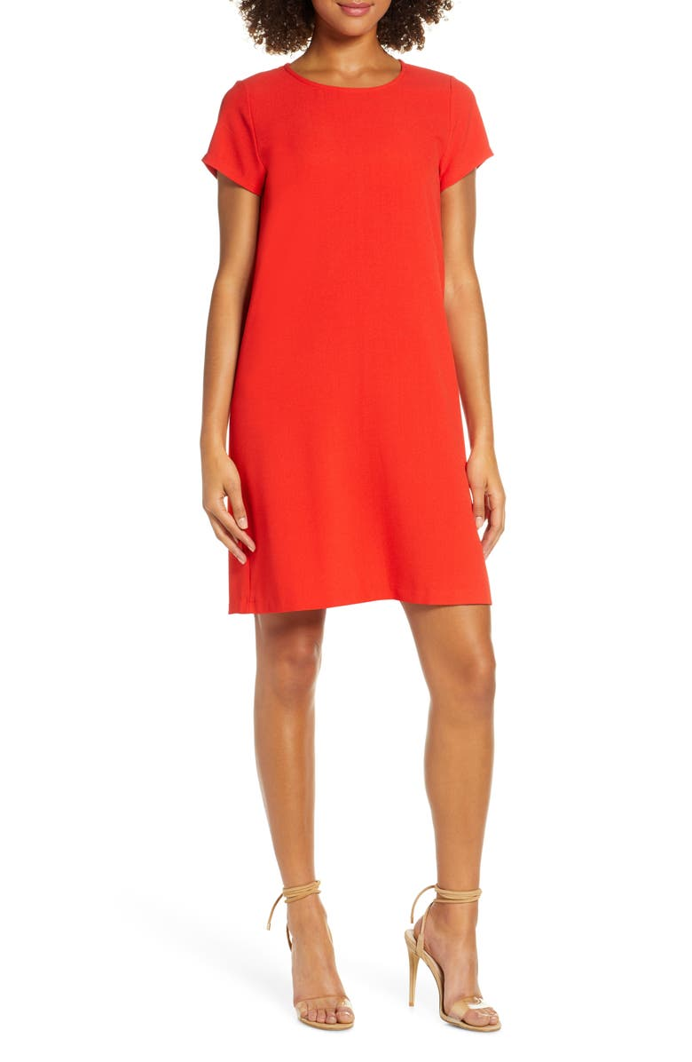 CHELSEA28 Crepe Shift Dress, Main, color, RED-CORAL