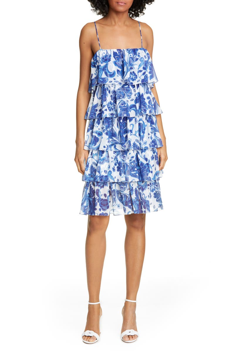 CAROLINE CONSTAS Floral Print Tiered Ruffle Dress, Main, color, 427