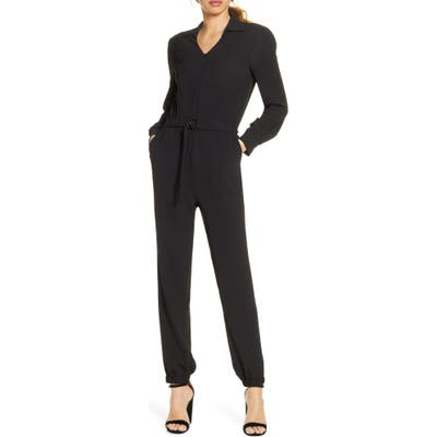 Fraiche By J Utility Long Sleeve Jumpsuit, Black