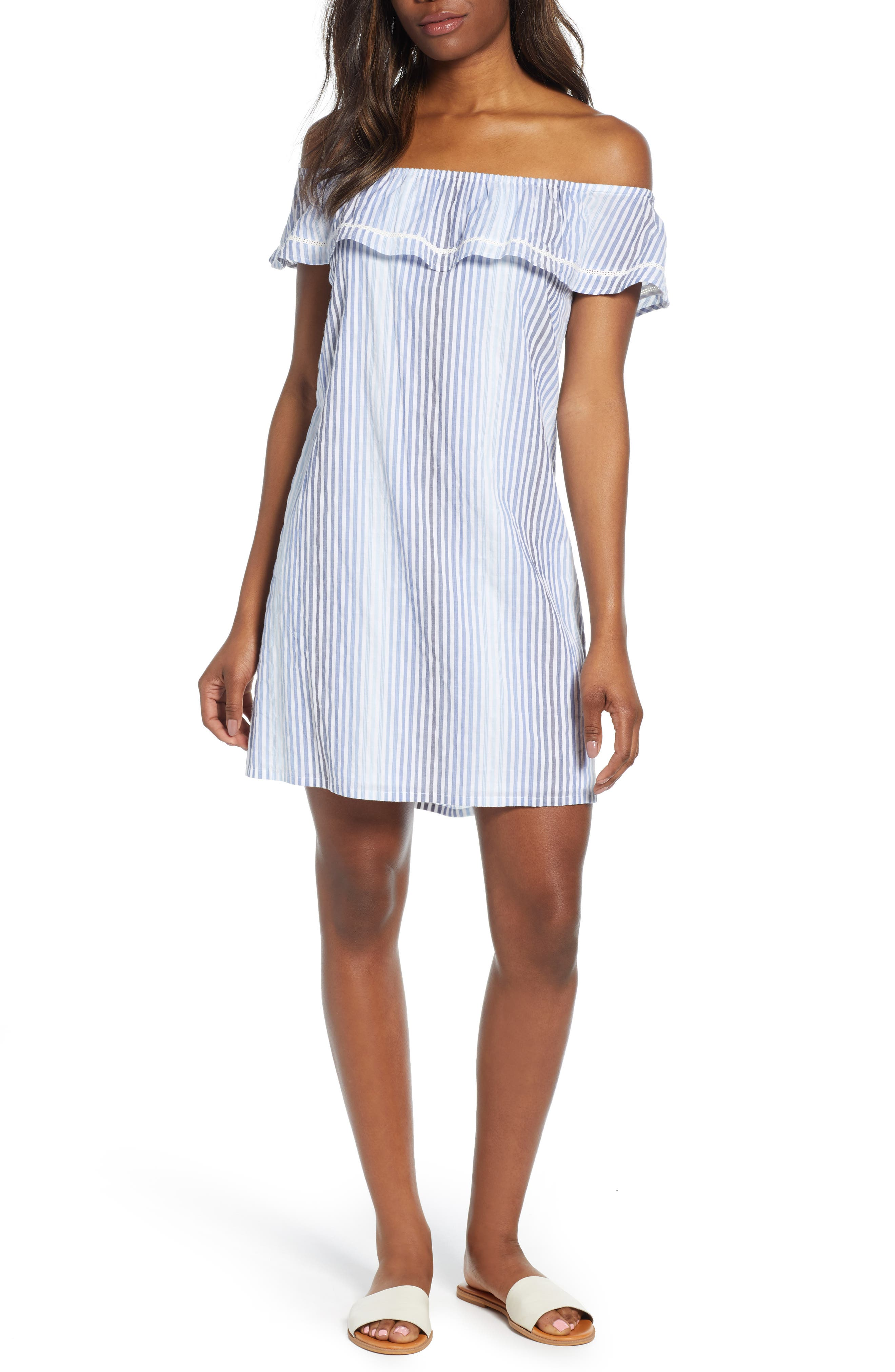 Tommy Bahama Simona Sand Off The Shoulder Shift Dress, Blue