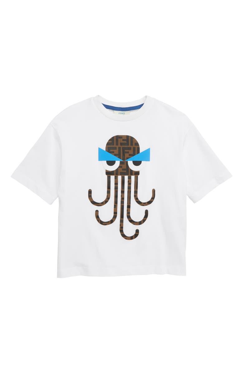 FENDI Octopus Logo T-Shirt, Main, color, F0QA0 WHITE