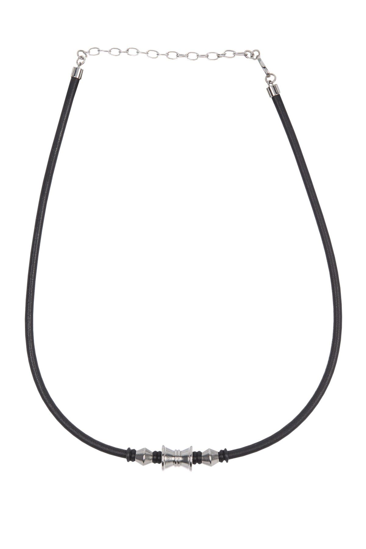 Image of Bruno Banani Leather & Stainless Steel Necklace