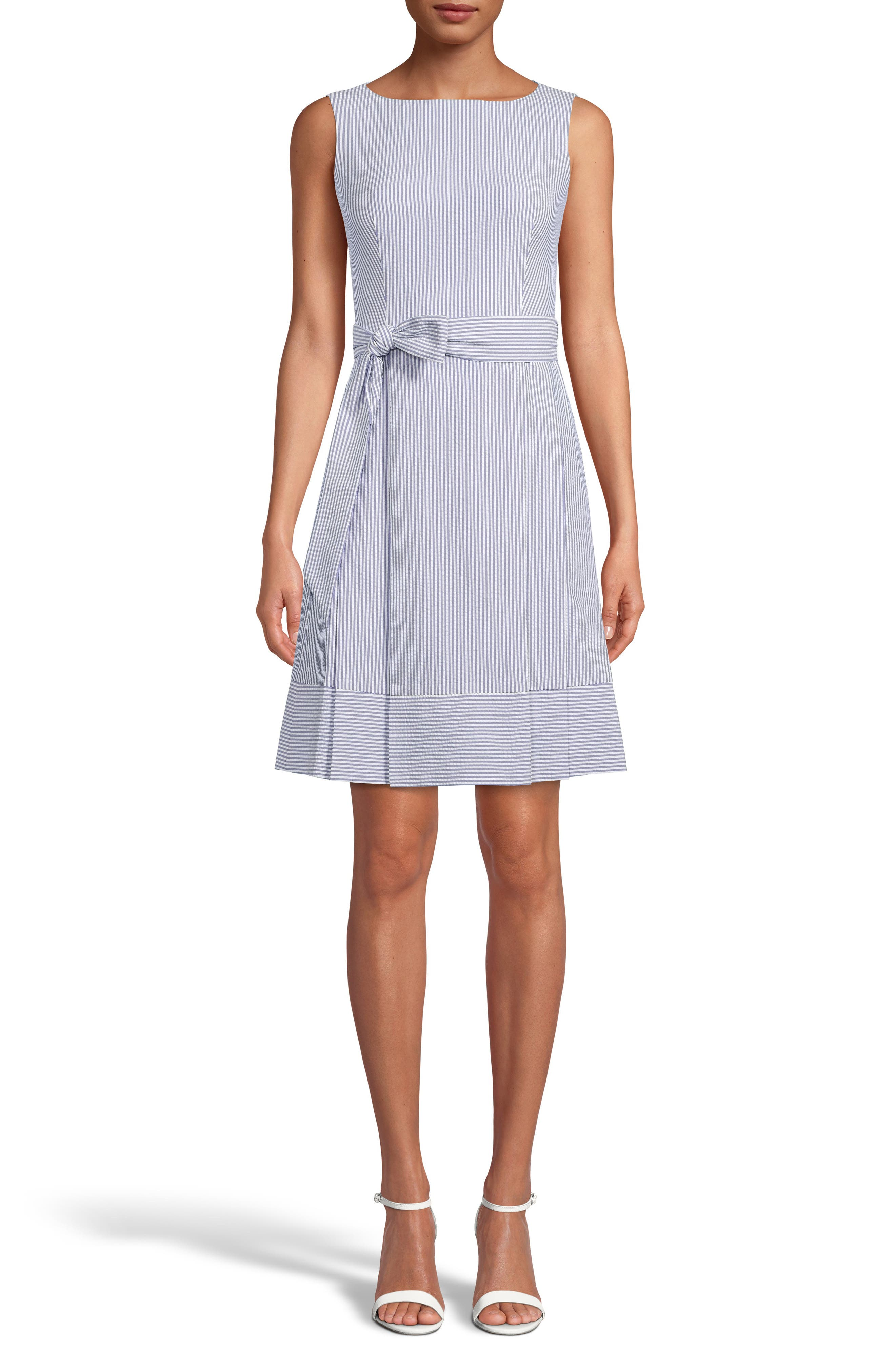 Belted Stripe Seersucker Dress