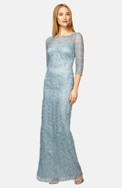 Image of Kay Unger Sequin Lace Colum Gown