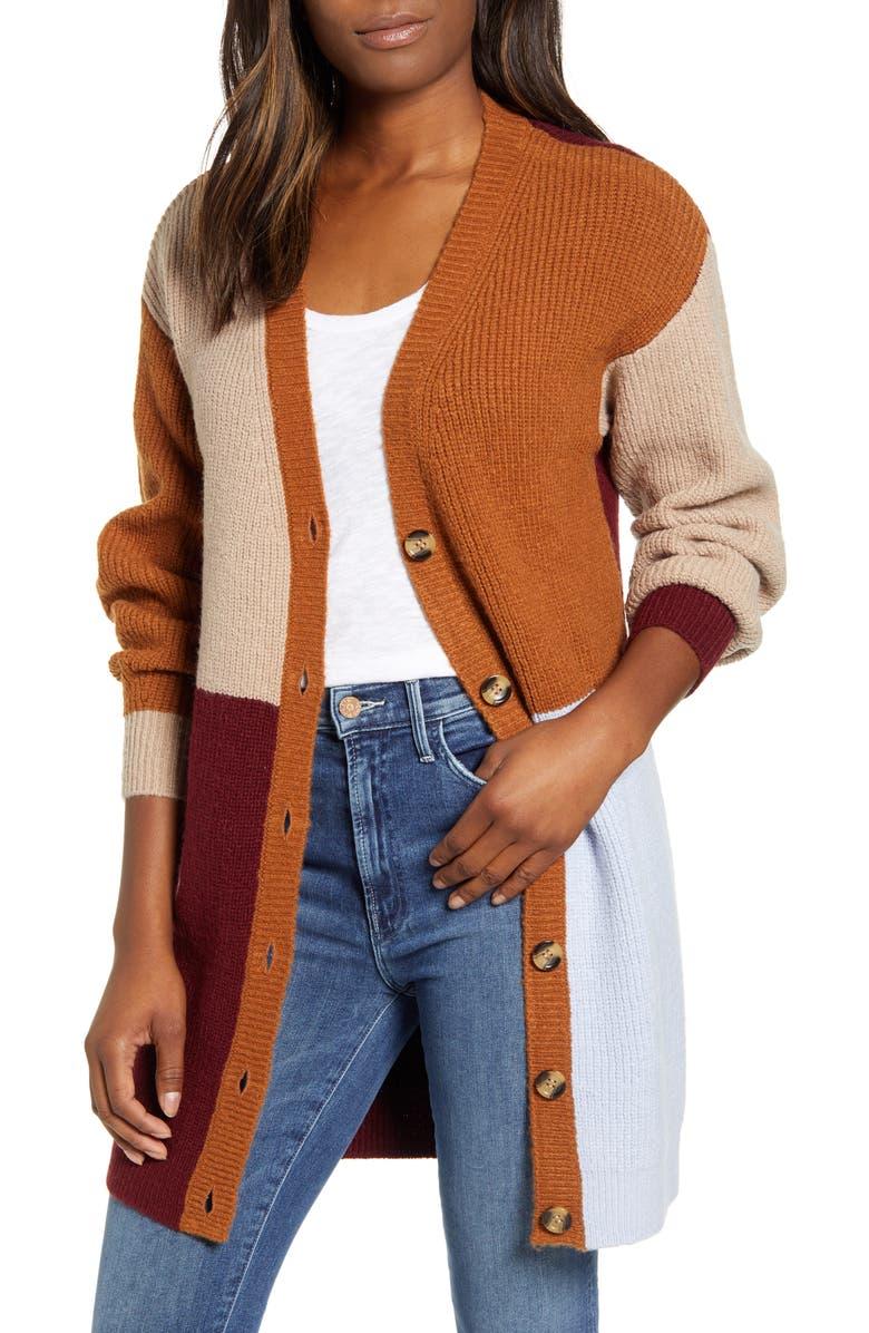 CENY Colorblock Long Cardigan, Main, color, RUST-BURGNDY-LAVENDAR