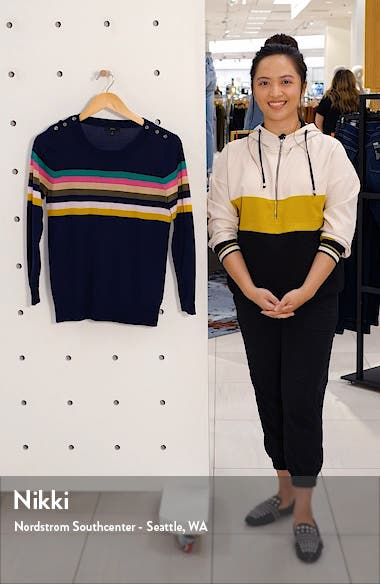 Tippi Sweater in Multistripe with Shoulder Buttons, sales video thumbnail