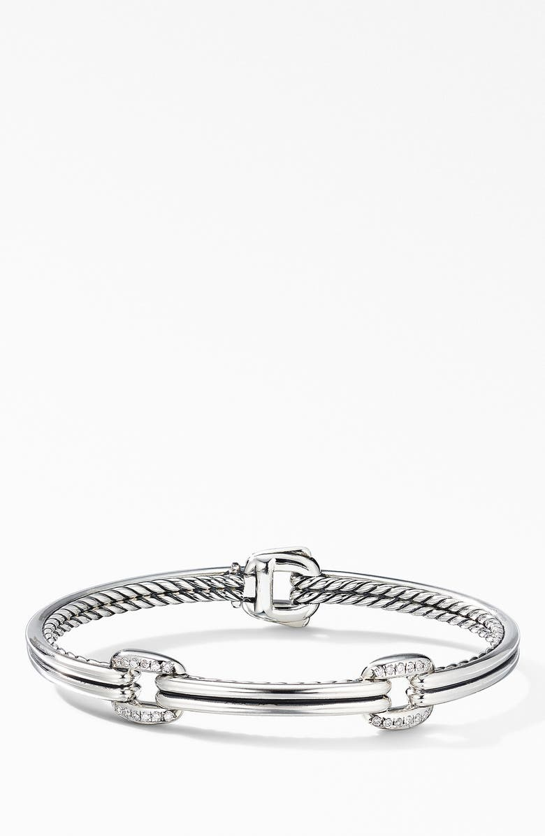 DAVID YURMAN Thoroughbred<sup>®</sup> Double Link Bracelet with Diamonds, Main, color, SILVER/ DIAMOND