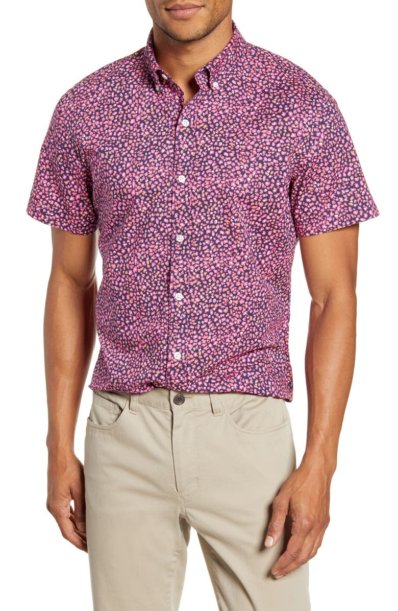 BONOBOS Riviera Slim Fit Short Sleeve Button-Down Shirt, Main, color, MINI LEOPARD PINK PLUMERIA