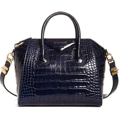 Givenchy Small Antigona Croc Embossed Calfskin Satchel - Blue