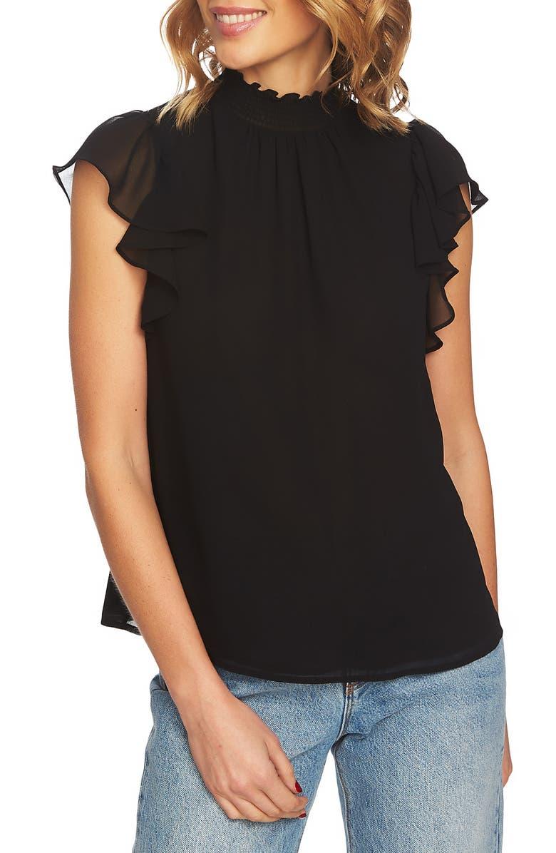 1.STATE Flutter Sleeve Smocked Neck Blouse, Main, color, RICH BLACK
