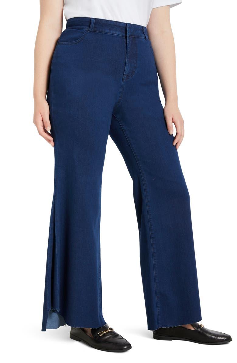 ELOQUII Drama Flare Jeans, Main, color, DARK RINSE