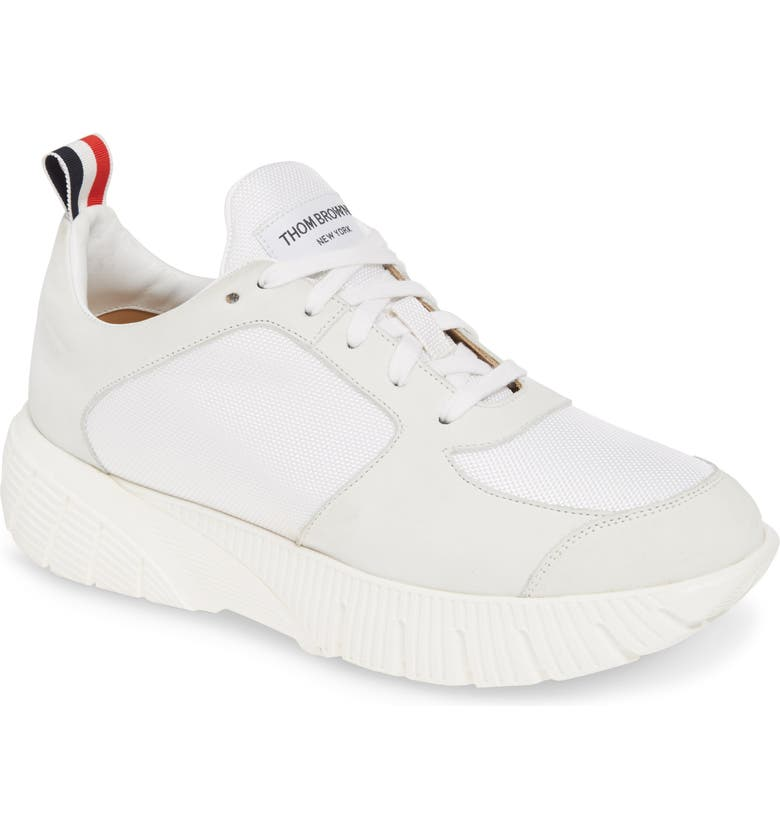 THOM BROWNE Running Sneaker, Main, color, WHITE