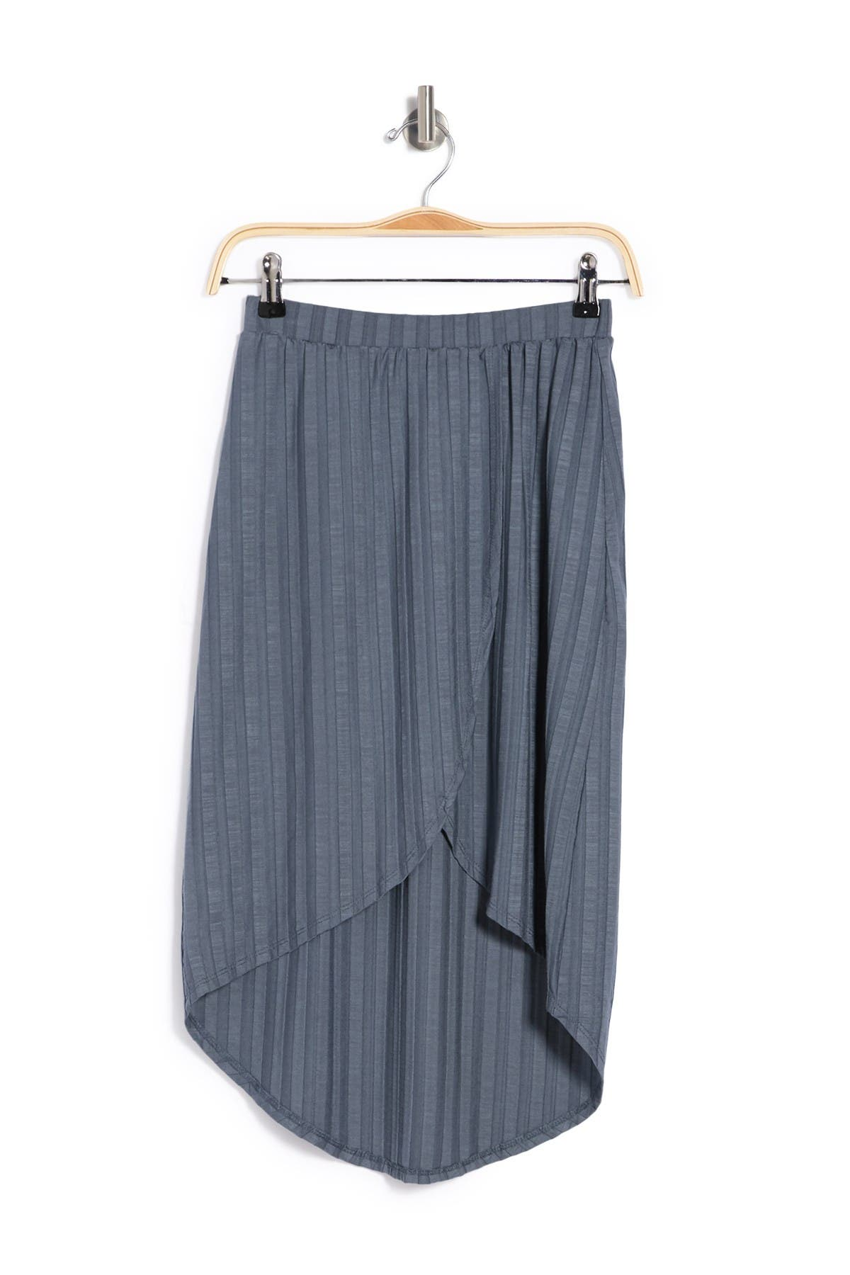Image of Go Couture Wrap High/Low Ribbed Knit Skirt