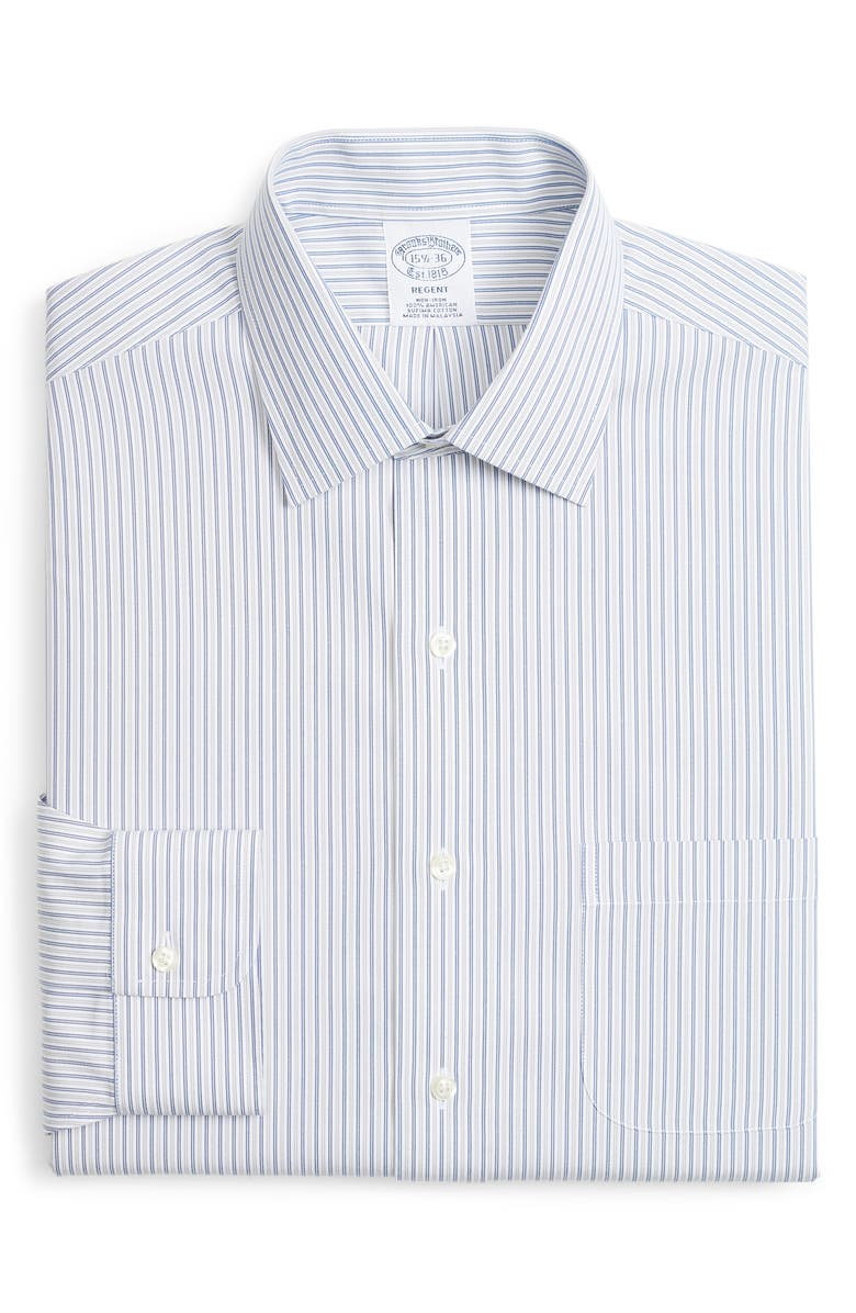 BROOKS BROTHERS Regent Regular Fit Non-Iron Stripe Dress Shirt, Main, color, GREY