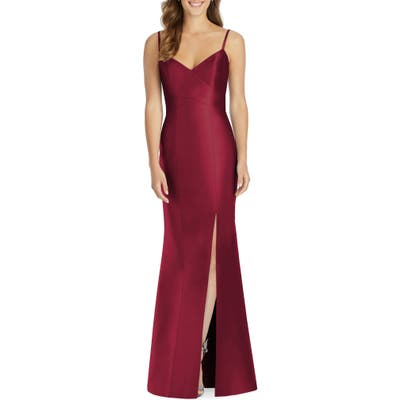 Plus Size Alfred Sung Sateen Twill Trumpet Gown, Burgundy