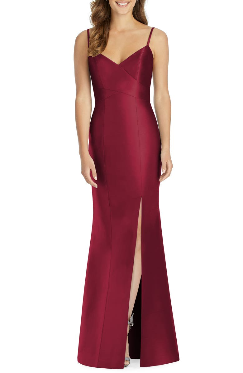 ALFRED SUNG Surplice Neck Satin Twill Trumpet Gown, Main, color, BURGUNDY