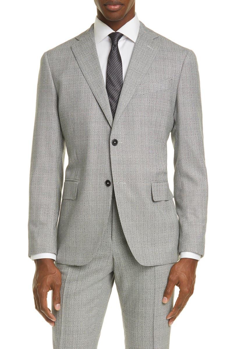 EIDOS Balthazar Trim Fit Houndstooth Wool Sport Coat, Main, color, LIGHT GREY