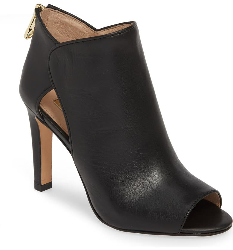 LOUISE ET CIE Ilsabelle Open Toe Bootie, Main, color, BLACK LEATHER