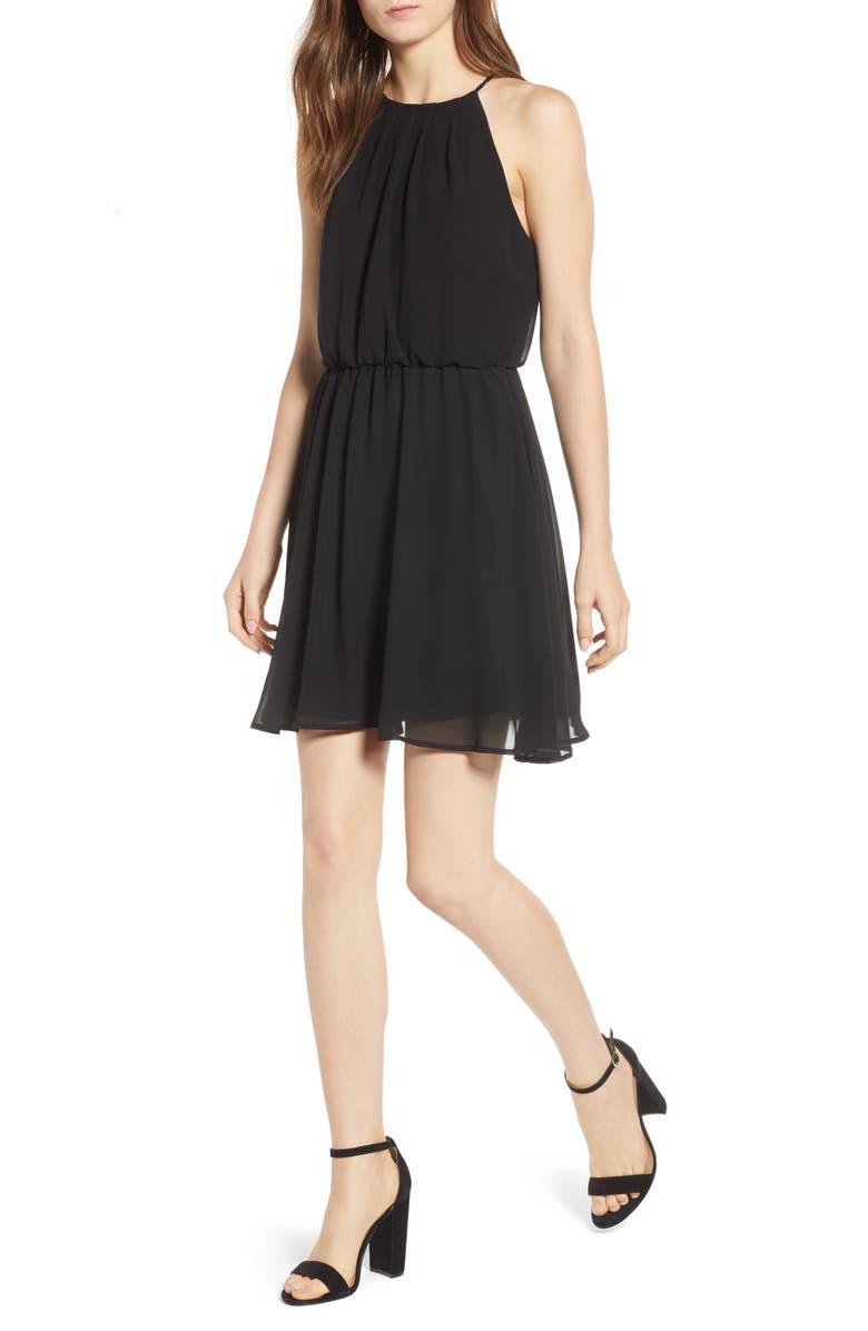 --- Blouson Chiffon Skater Dress, Main, color, 001