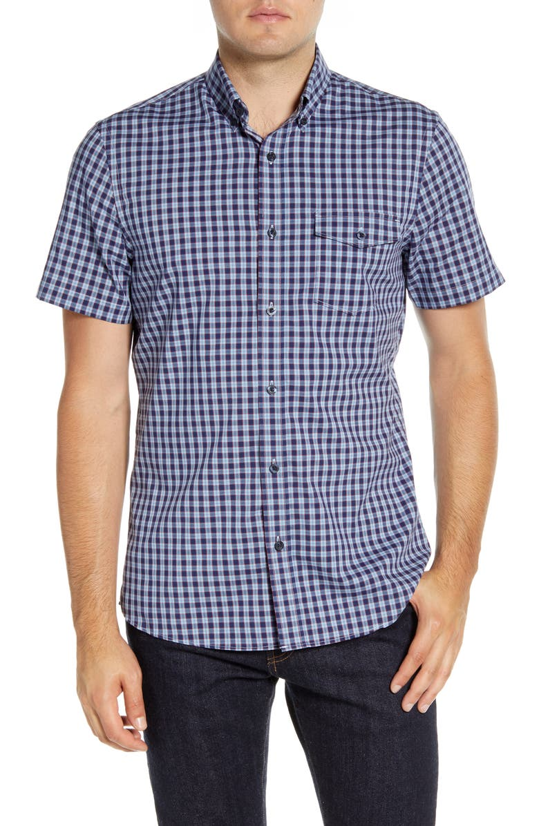 NORDSTROM MEN'S SHOP Nordstrom Mens Shop Tech-Smart Ivy Regular Fit Check Short Sleeve Button-Down Shirt, Main, color, BLUE DUSK RED CHECK