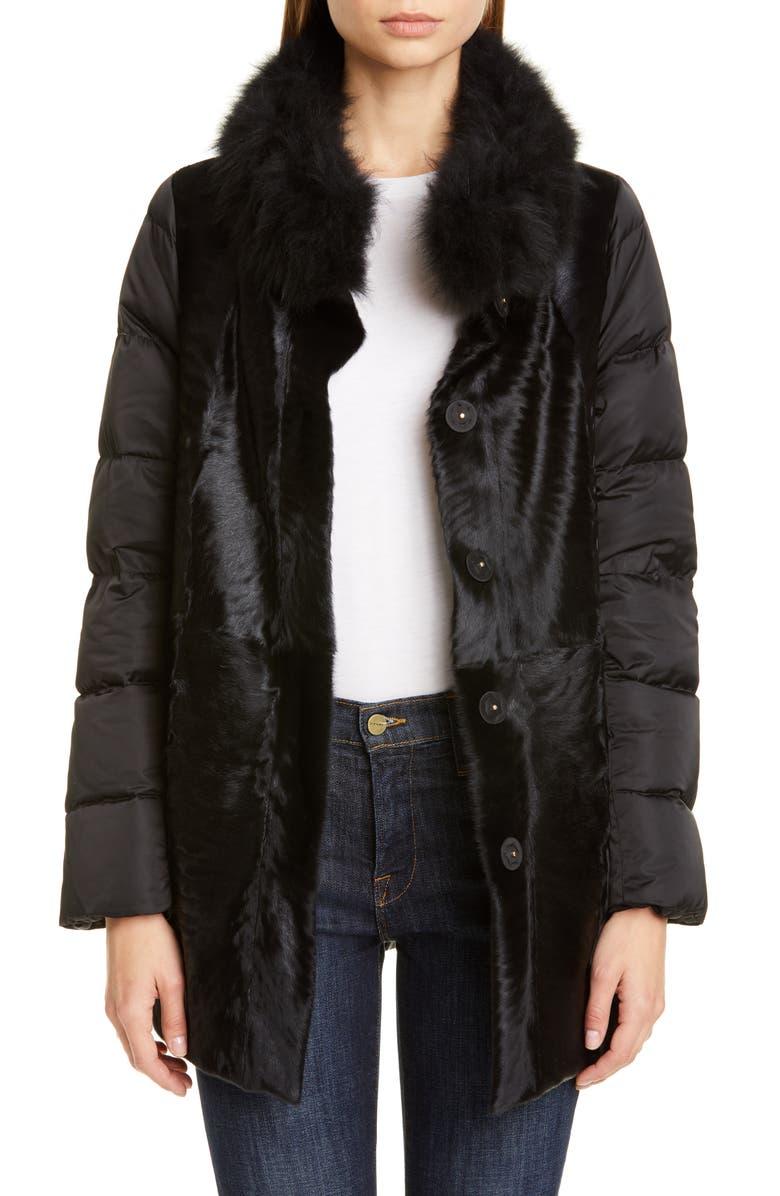 HERNO Genuine Mongolian Lamb Fur Puffer Jacket, Main, color, BLACK