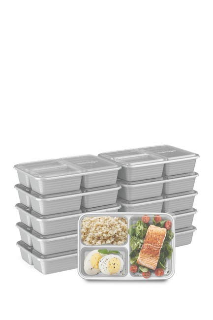 Image of BENTGO Prep 3-Compartment Container - 10 Pack - Silver