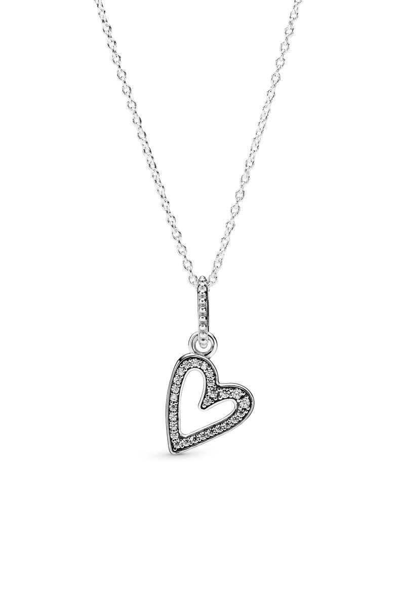 PANDORA Sparkling Freehand Heart Necklace, Main, color, SILVER/ CLEAR CZ