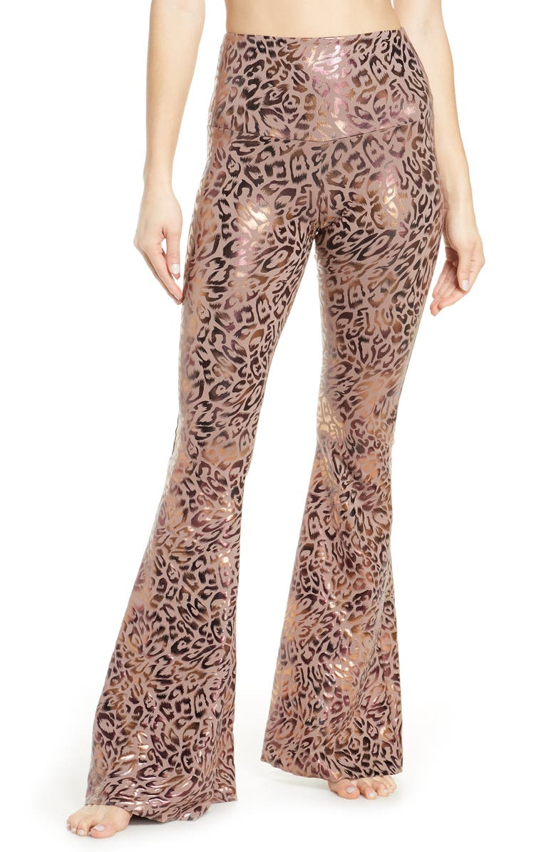 ONZIE Flare Leg Yoga Pants, Main, color, GOLDEN LEOPARD