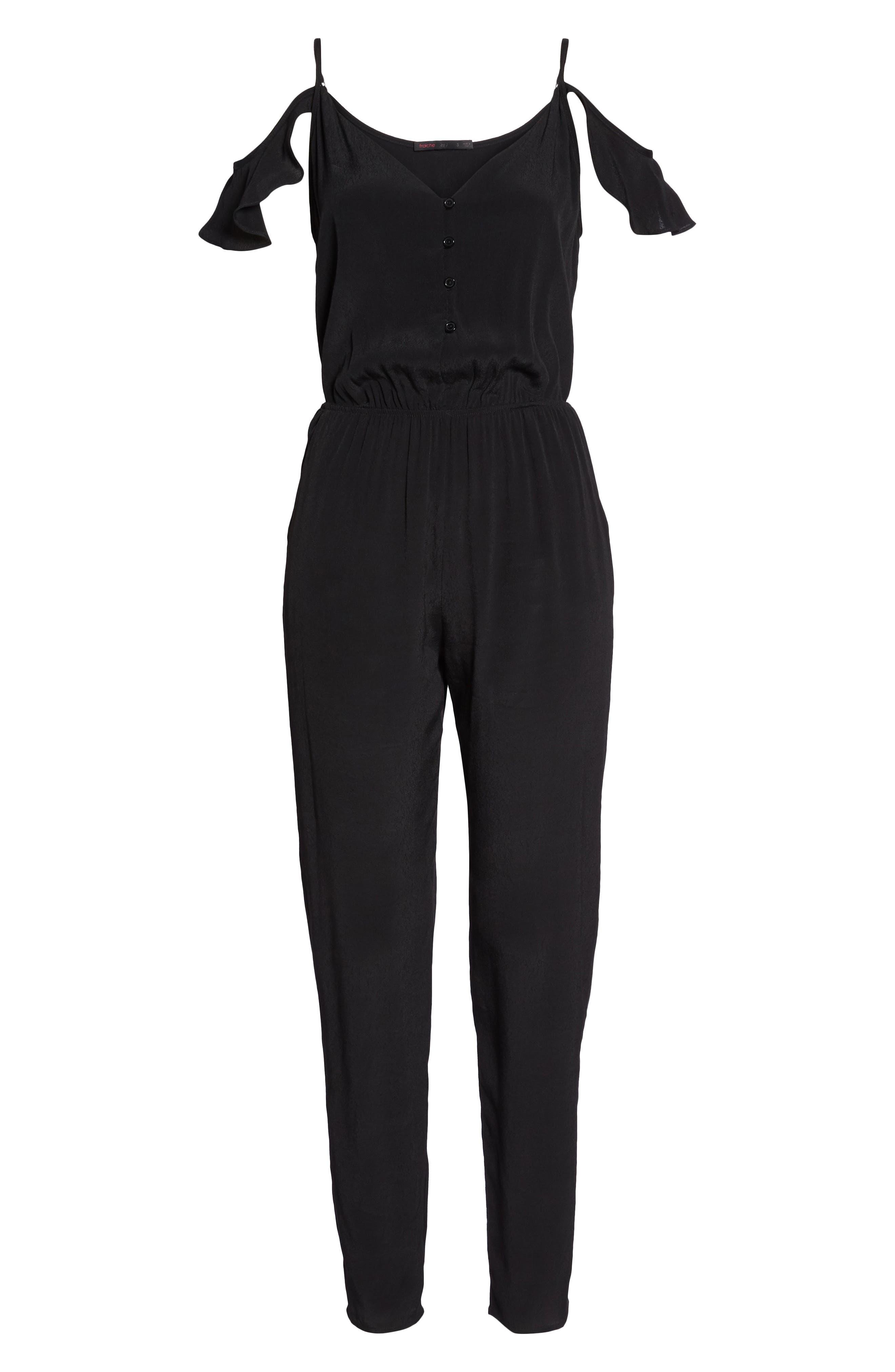 ,                             Ruffle Cold Shoulder Jumpsuit,                             Alternate thumbnail 7, color,                             BLACK