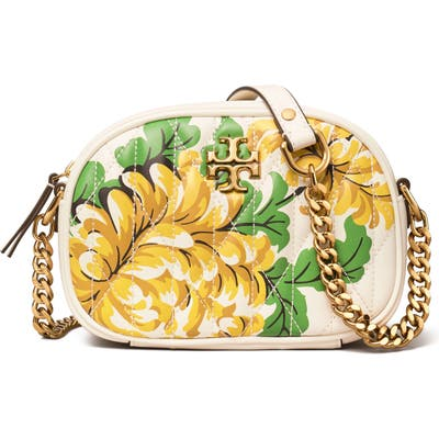 Tory Burch Kira Quilted Floral Leather Crossbody Bag - Yellow