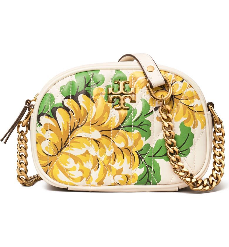 TORY BURCH Kira Quilted Floral Leather Crossbody Bag, Main, color, YELLOW FLORAL CLOUDS